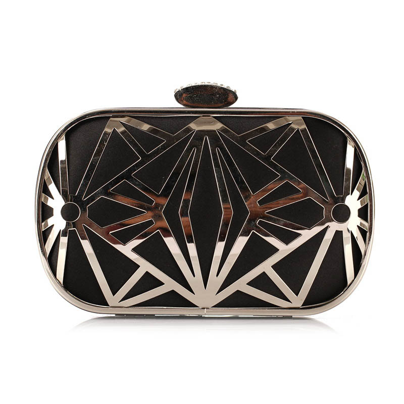 Bolsa De Festa Clutches : Lady s hollow black and gold messenger bag girls evening