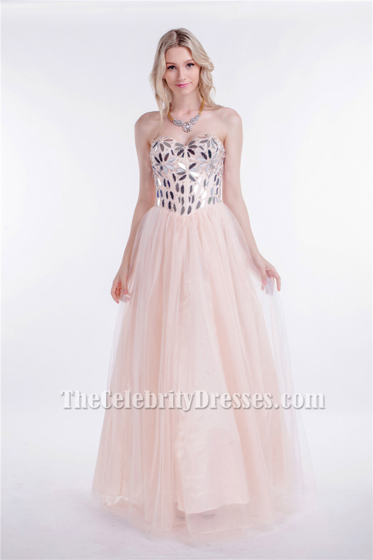 Strapless Sweetheart Sequined A-Line Lace Up Prom Evening Dresses ...