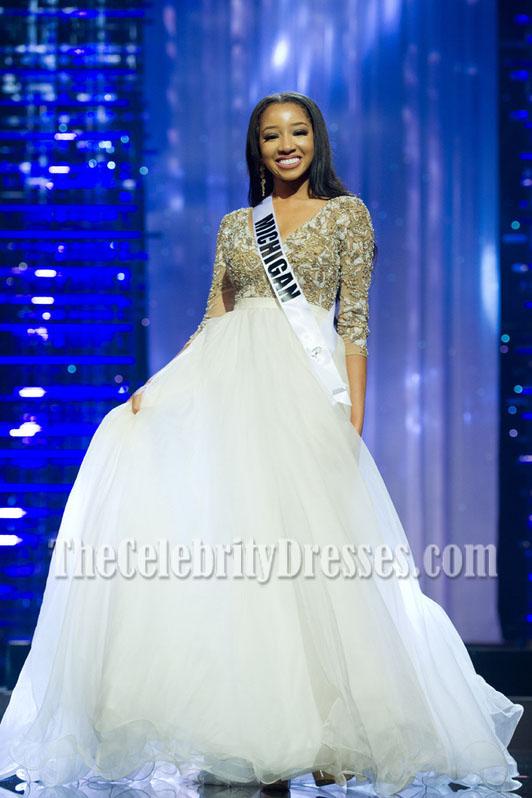 Unjanee Wells White Beading Ball Gown Miss Michigan Teen USA 2016 ...