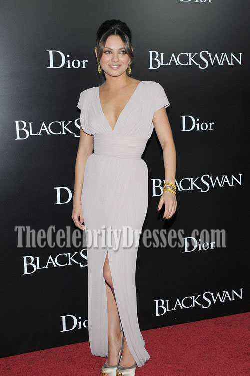 Mila Kunis Deep V Neck Prom Evening Dress Black Swan New
