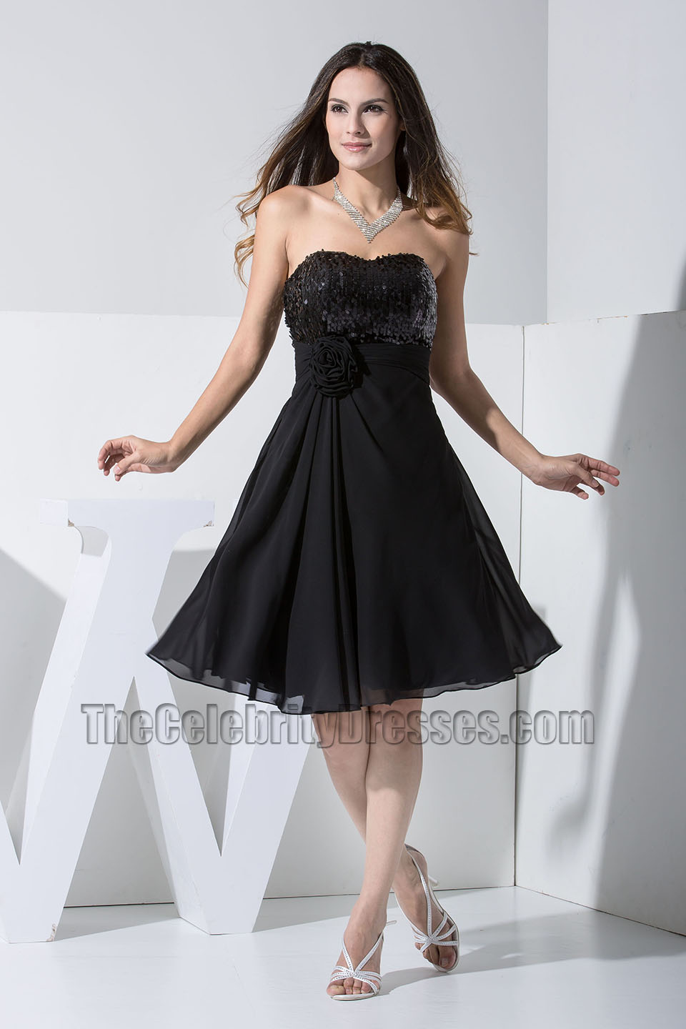 New Style Black Strapless Cocktail Dresses Party Homecoming Dress ...