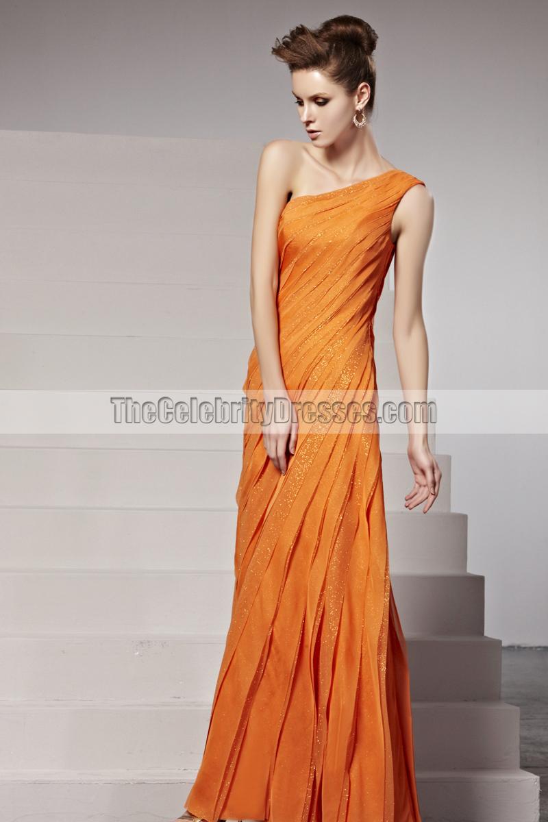 Celebrity Inspired Orange One Shoulder Formal Dress Evening Gown ...