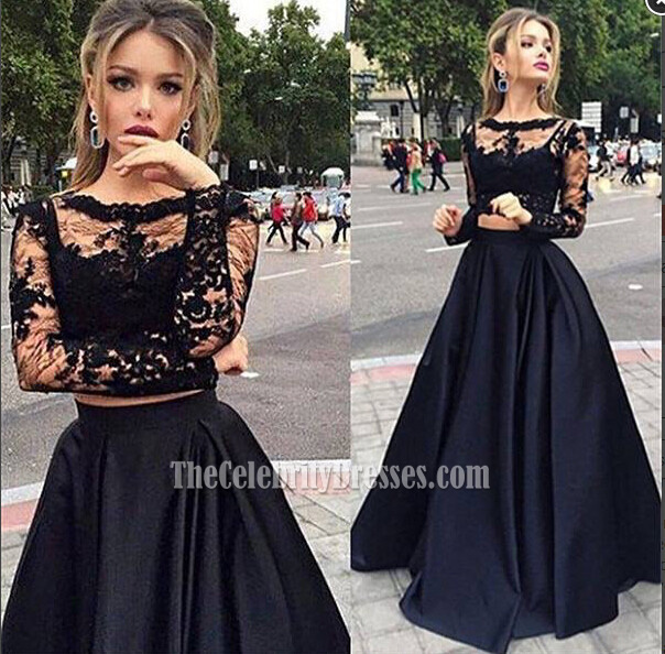 Black Two Pieces Evening Gowns Long Sleeves Satin Prom Dress ...
