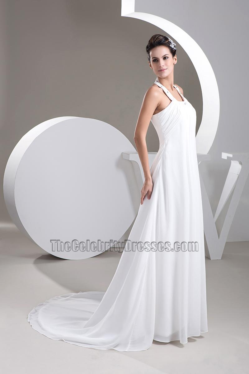 A-Line Halter Chapel Trail Chiffon Wedding Dresses - TheCelebrityDresses