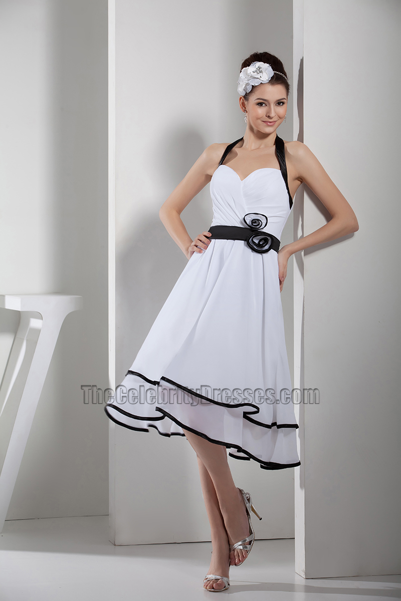 White halter cocktail dress