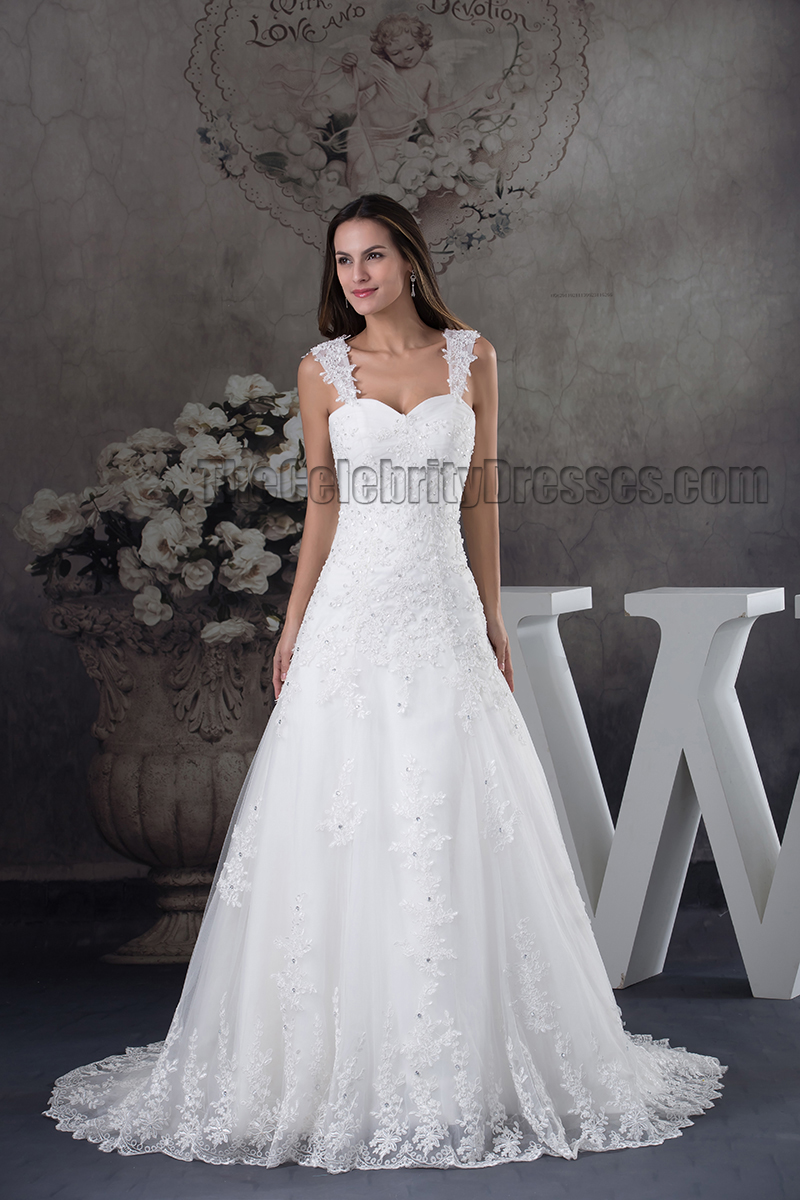 A Line Lace Sweetheart Beaded Up Wedding Dress