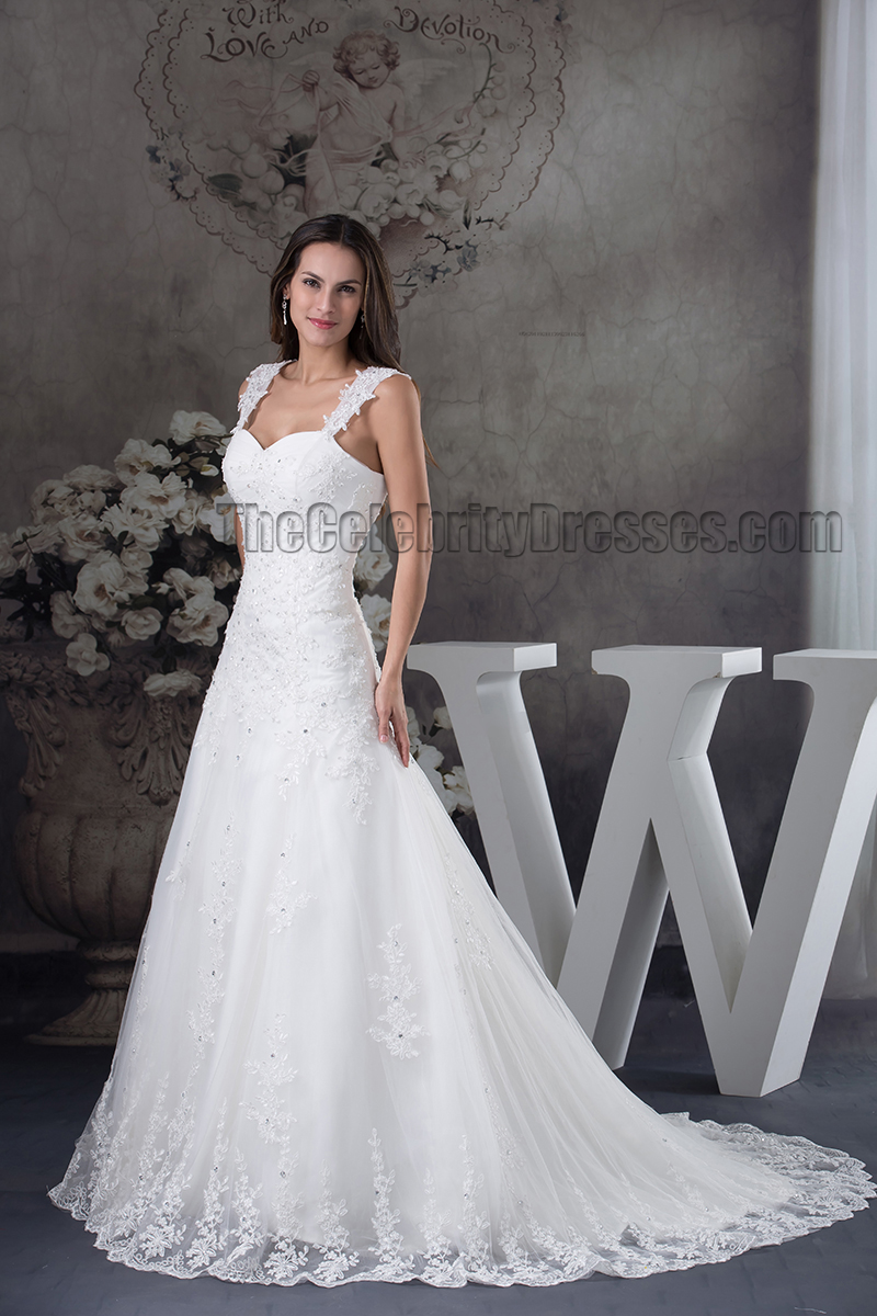 A-Line Lace Sweetheart Beaded Lace Up Wedding Dress ...