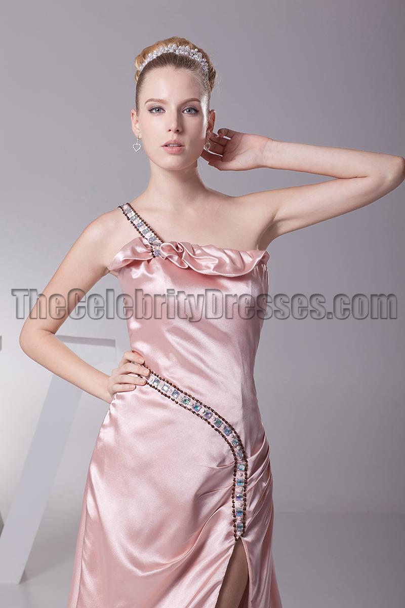 One Shoulder Skin Pink Prom Gown Evening Formal Dress
