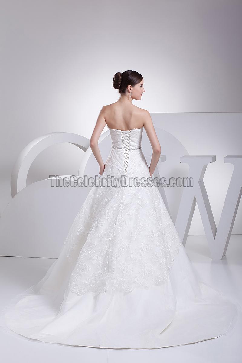 Elegant A Line Strapless Sweetheart Lace Wedding Dresses