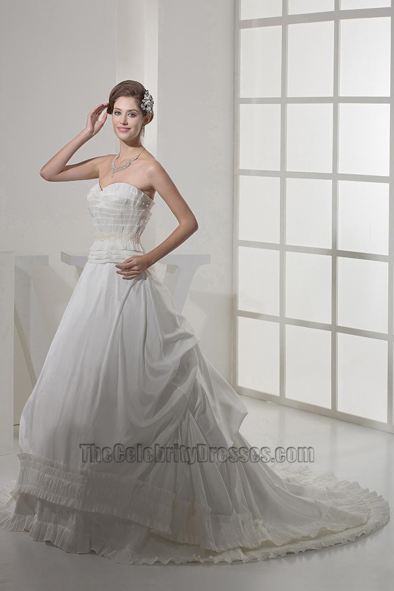 A line strapless sweetheart ruffles chapel train wedding for Strapless wedding dress with ruffles