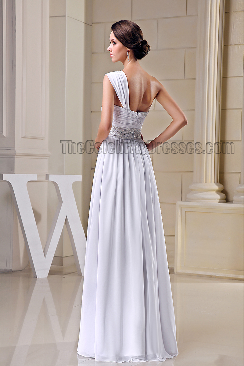 A-Line White One Shoulder Beaded Prom Gown Evening Dresses ...