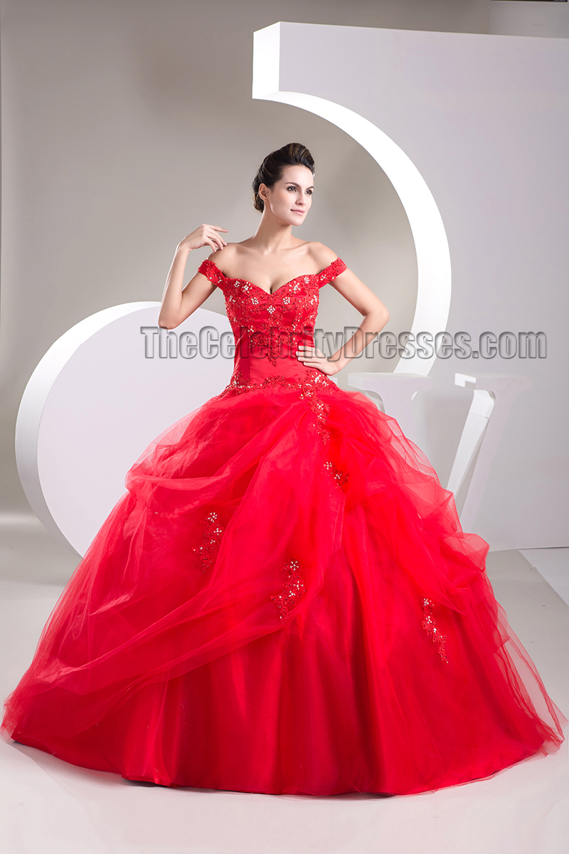 Ball Gown Red Off-the-Shoulder Beaded Lace Up Pageant Formal Dress ...
