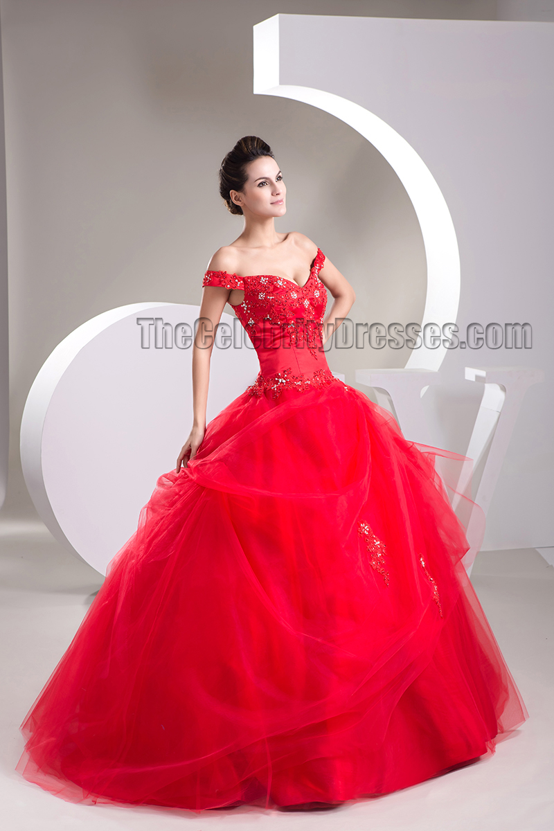 f3bcec6d476 Ball Gown Red Off-the-Shoulder Beaded Lace Up Pageant Formal Dress -  TheCelebrityDresses