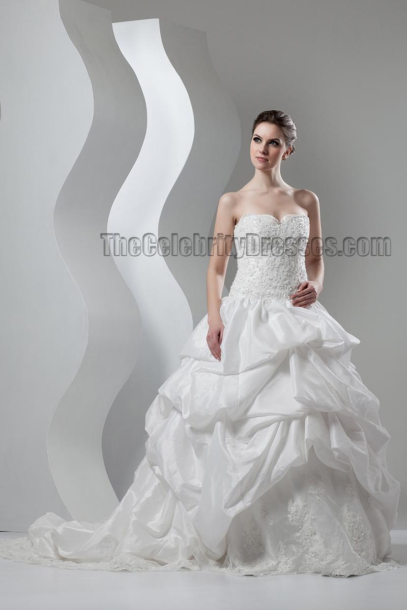Ball Gown Strapless Sweetheart Lace Taffeta Chapel Train Wedding ...