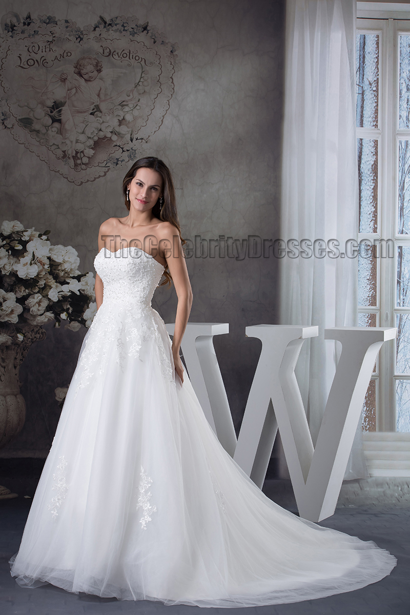 Ball Gown Sweetheart Strapless Embroidery Lace Up Wedding Dress ...