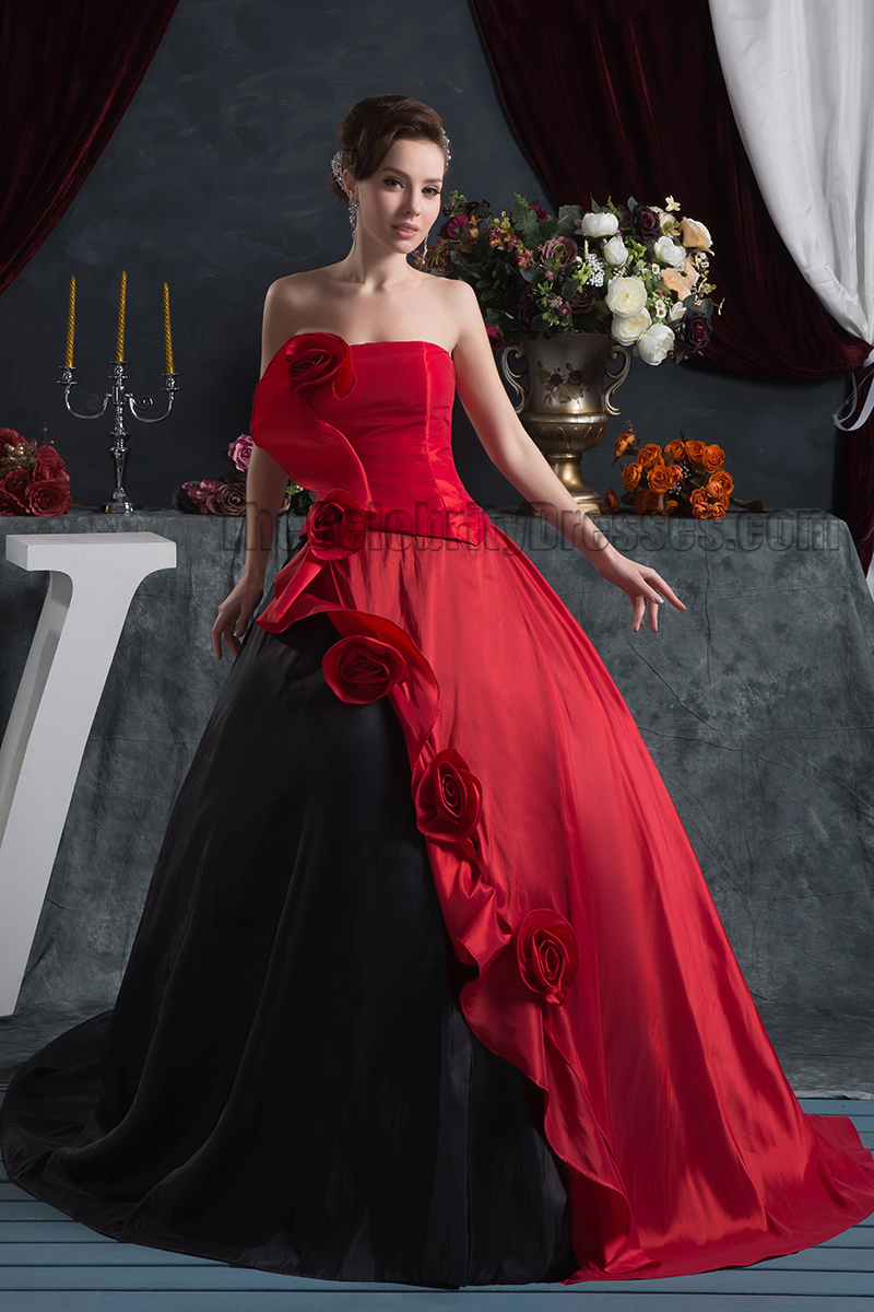 Black And Red Strapless Ball Gown Formal Pageant Dresses ...