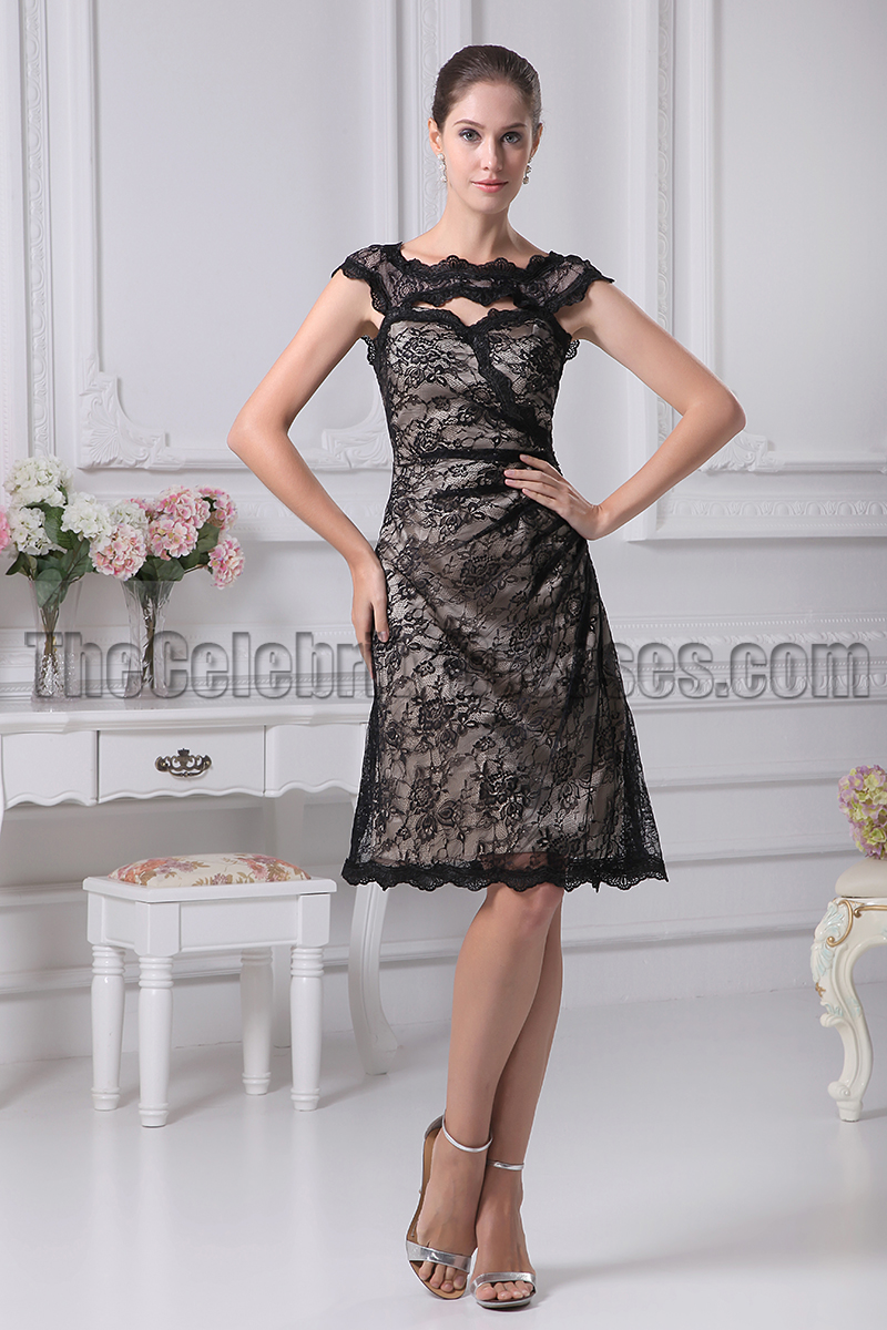 Black Knee Length Lace Cocktail Party Graduation Dresses ...