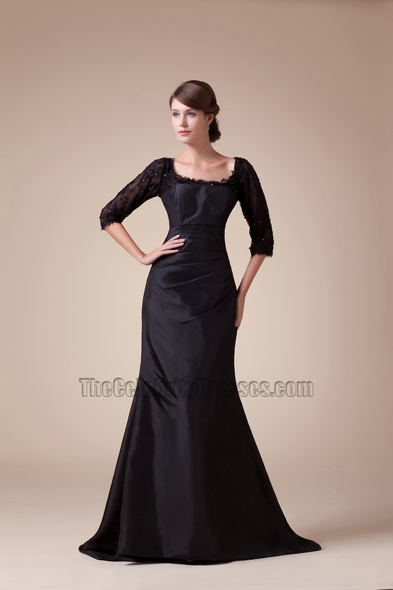 Black Scoop Neckline Taffeta Lace Formal Dress Evening