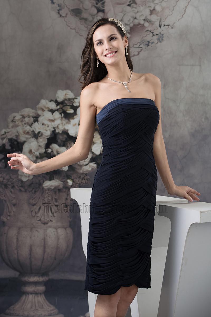 Black Strapless Knee Length Cocktail Graduation Party Dresses ...