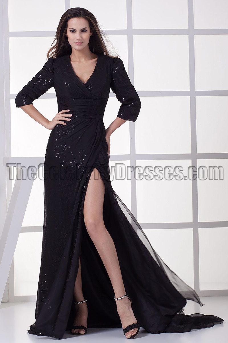 Black V-Neck Formal Gown Prom Evening Dresses - TheCelebrityDresses