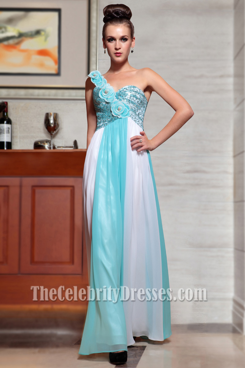 Blue And White One Shoulder Prom Formal Evening Dresses With Flowers ...
