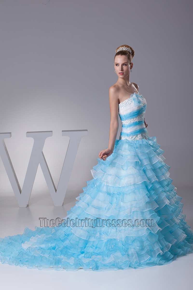 Blue And White Strapless Ball Gown Quinceanera Dress ...