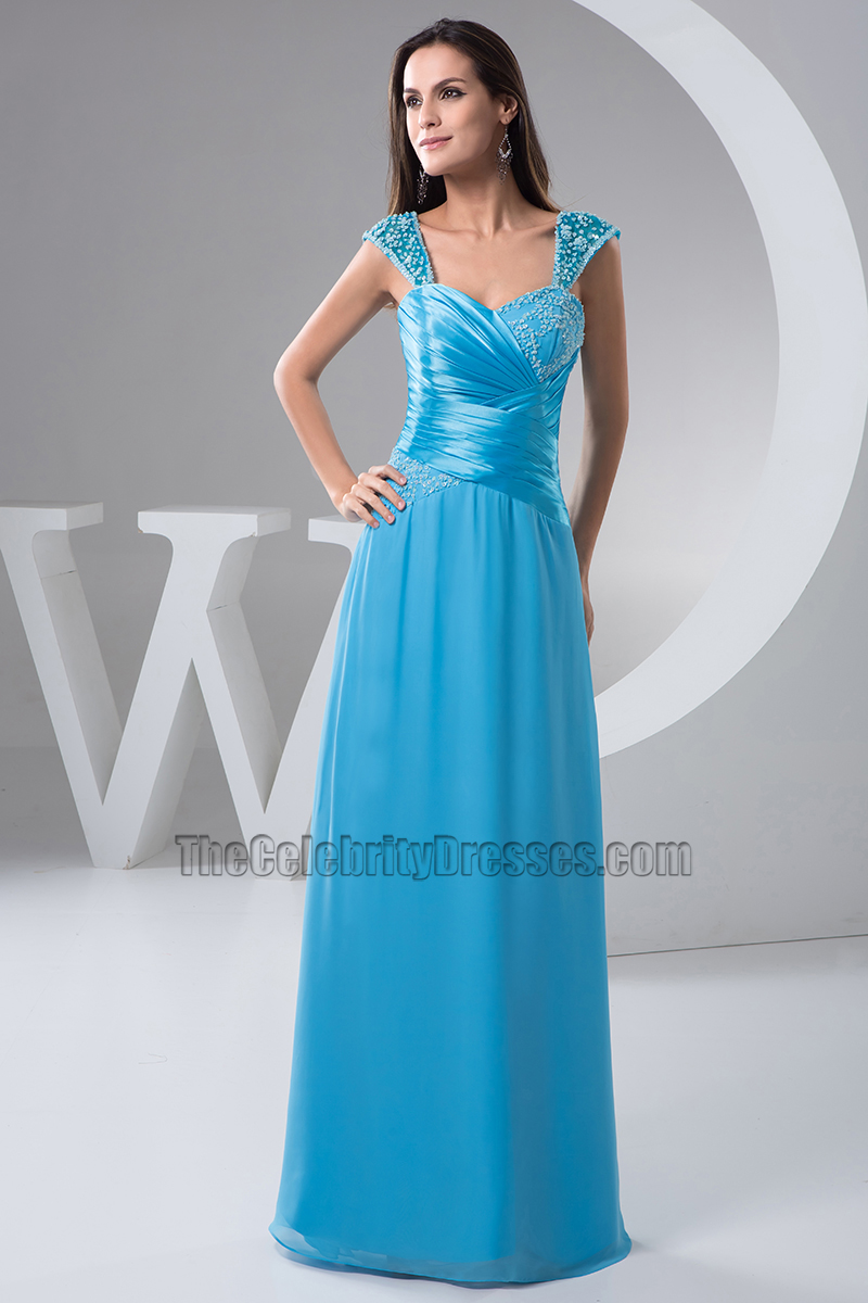 Blue Floor Length Evening Bridesmaid Dresses Prom Gown ...