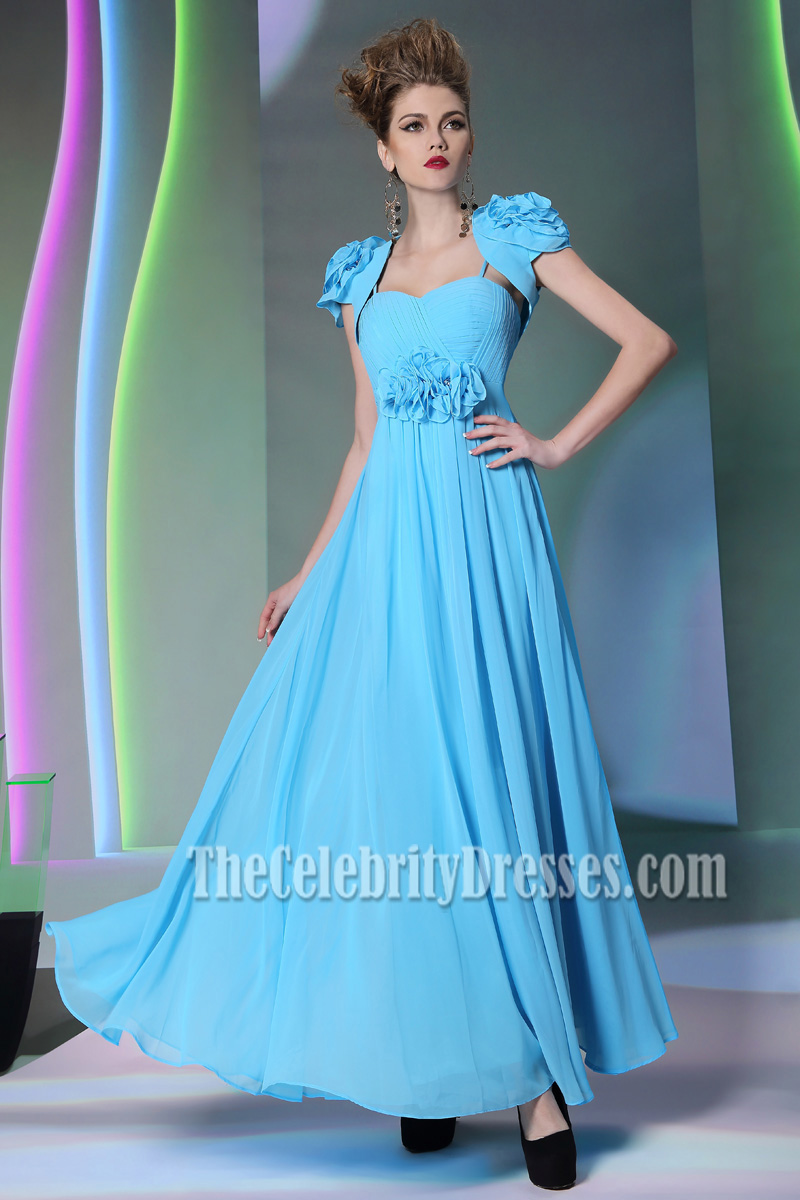 Blue Floor Length Chiffon Prom Gown Evening Dress With A Wrap ...