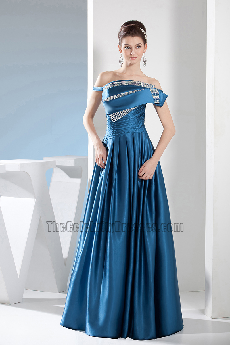 e36109f53e950 Blue Off-the-Shoulder A-Line Formal Dress Evening Prom Gown ...