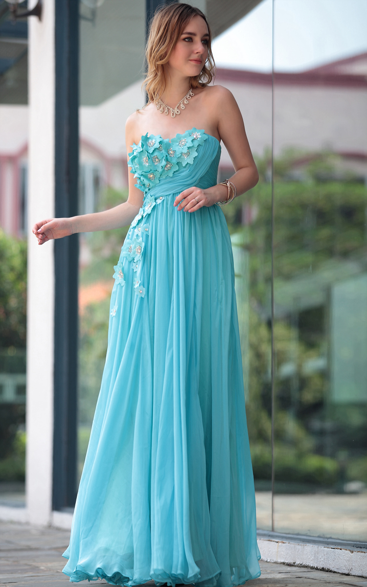 Blue Strapless Prom Gowns Evening Formal Dresses ...