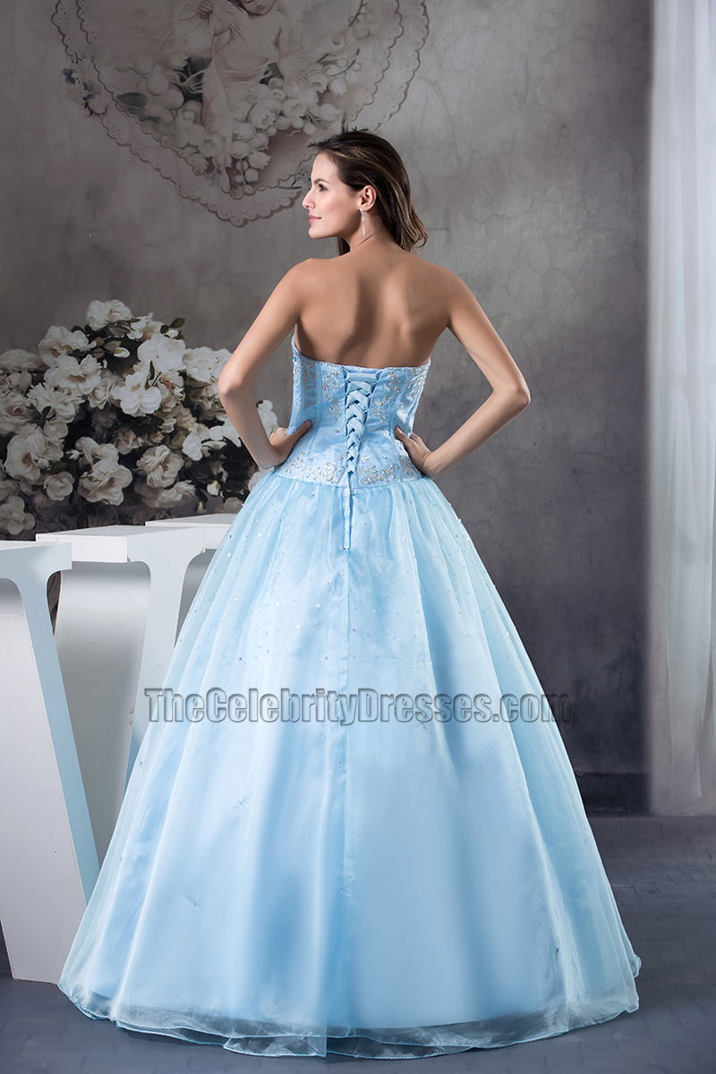 Blue Strapless A-Line Organza Quinceanera Formal Dresses ...