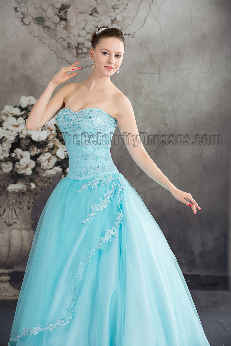 Blue Strapless Ball Gown Beaded Quinceanera Dresses ...