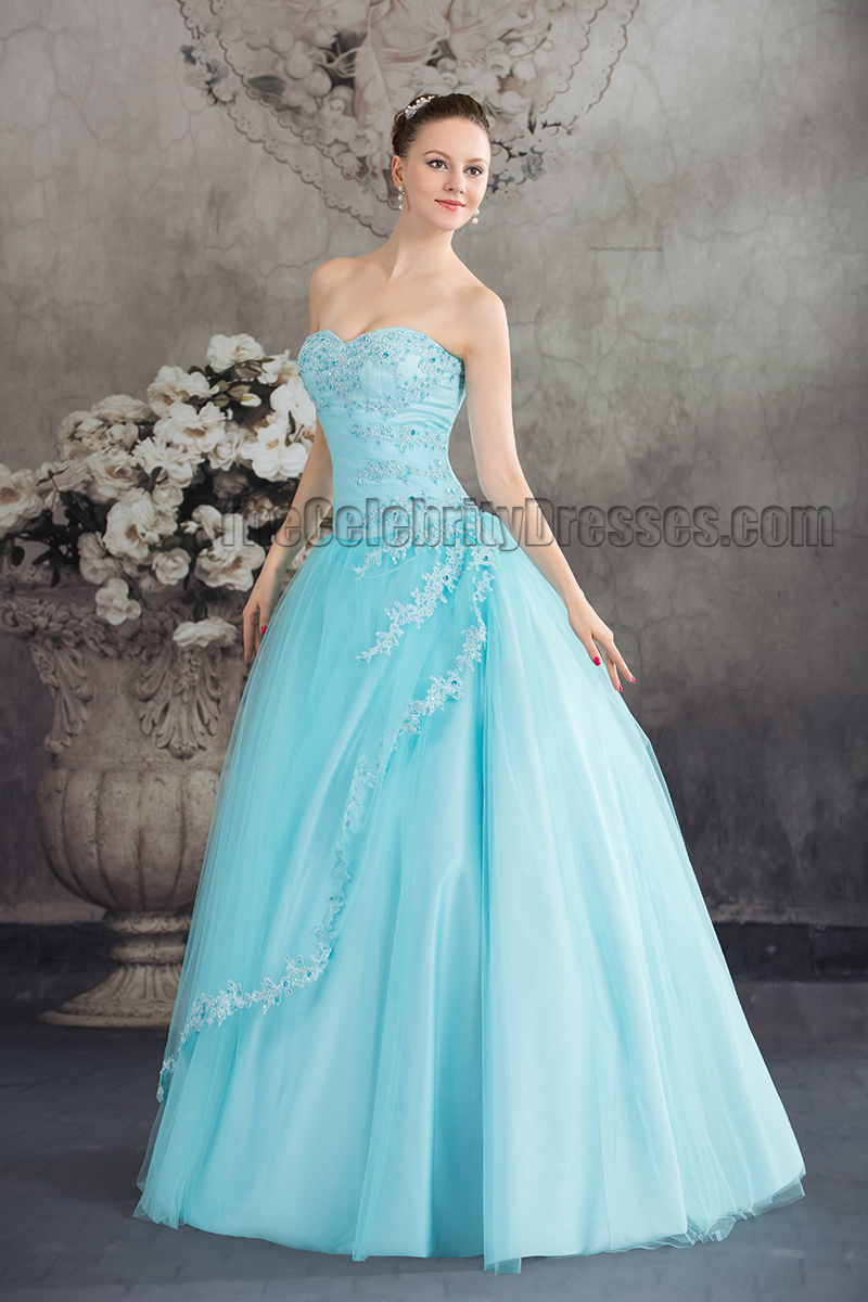 Light Blue Ball Gown Wedding Dresses