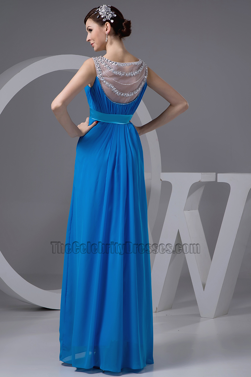 Celebrity Inspired Blue Chiffon Prom Gown Evening Formal