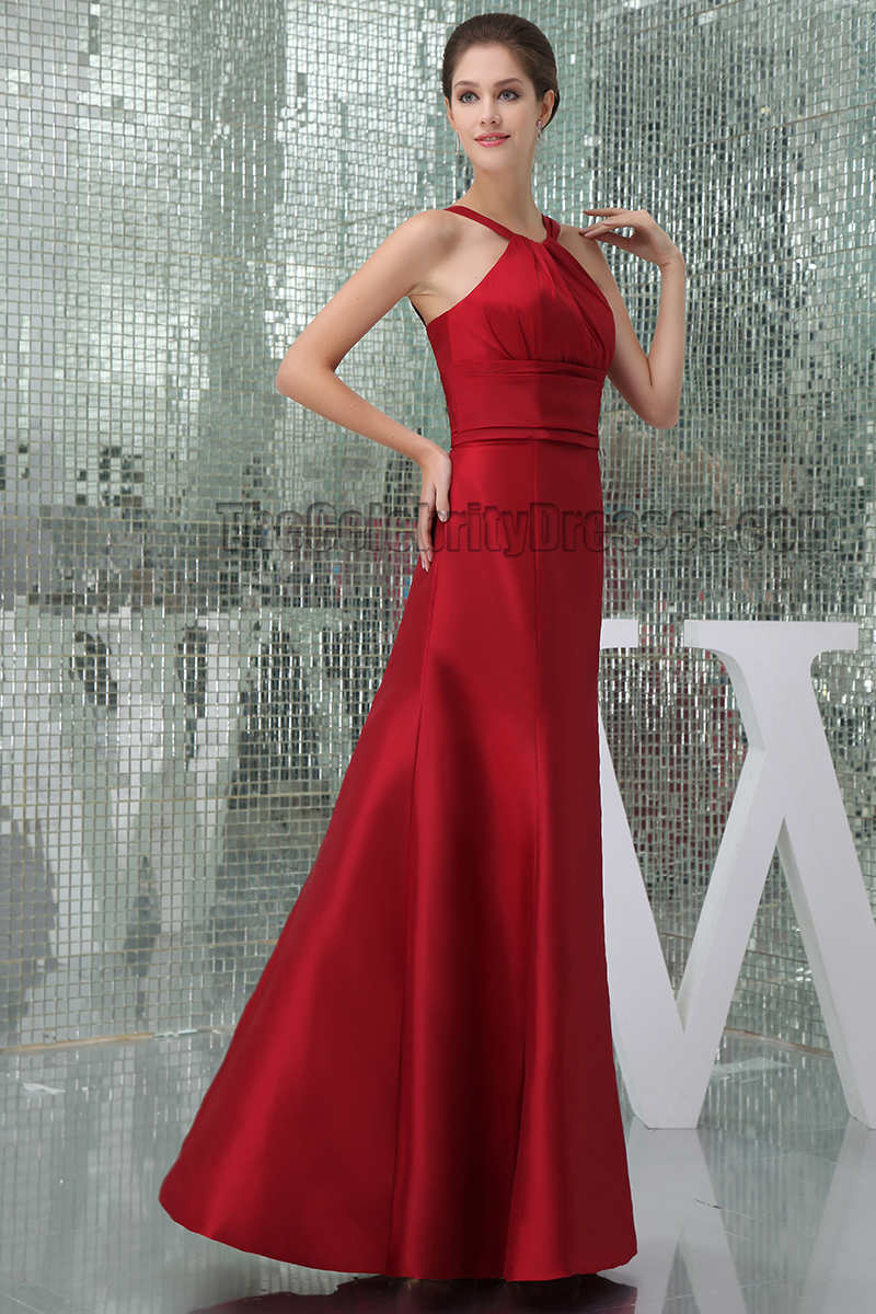 Celebrity Inspired Red Floor Length Prom Gown Evening