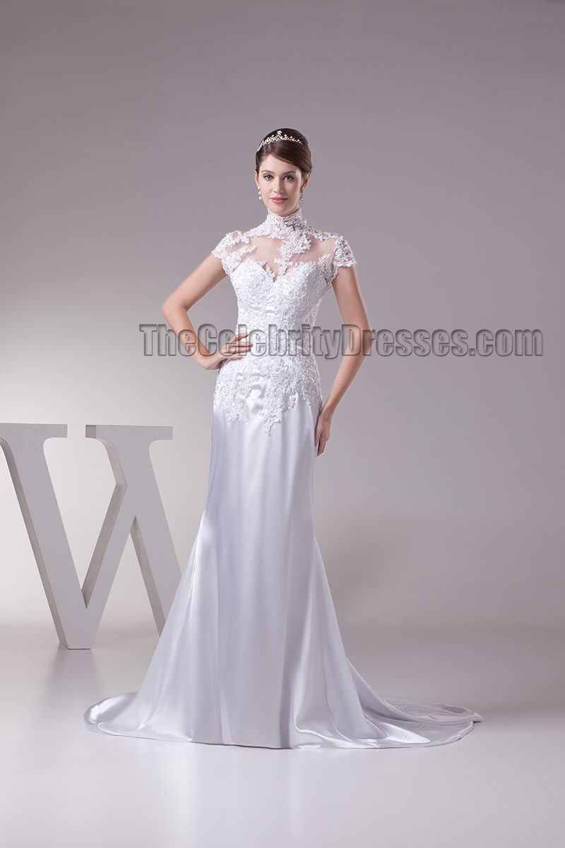 Celebrity inspired high neck lace cap sleeve wedding dress celebrity inspired high neck lace cap sleeve wedding dress thecelebritydresses junglespirit Gallery
