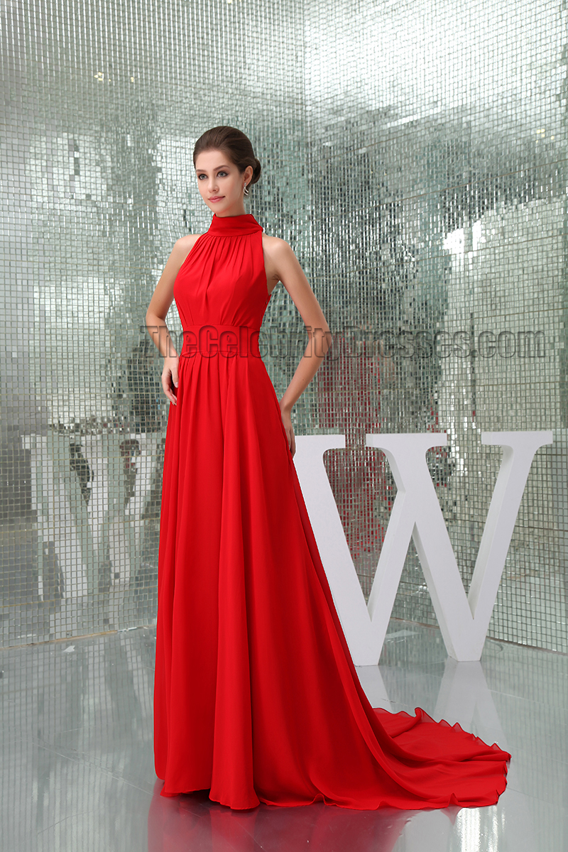 Celebrity Inspired Red High Neck Prom Gown Evening Formal Dress ...