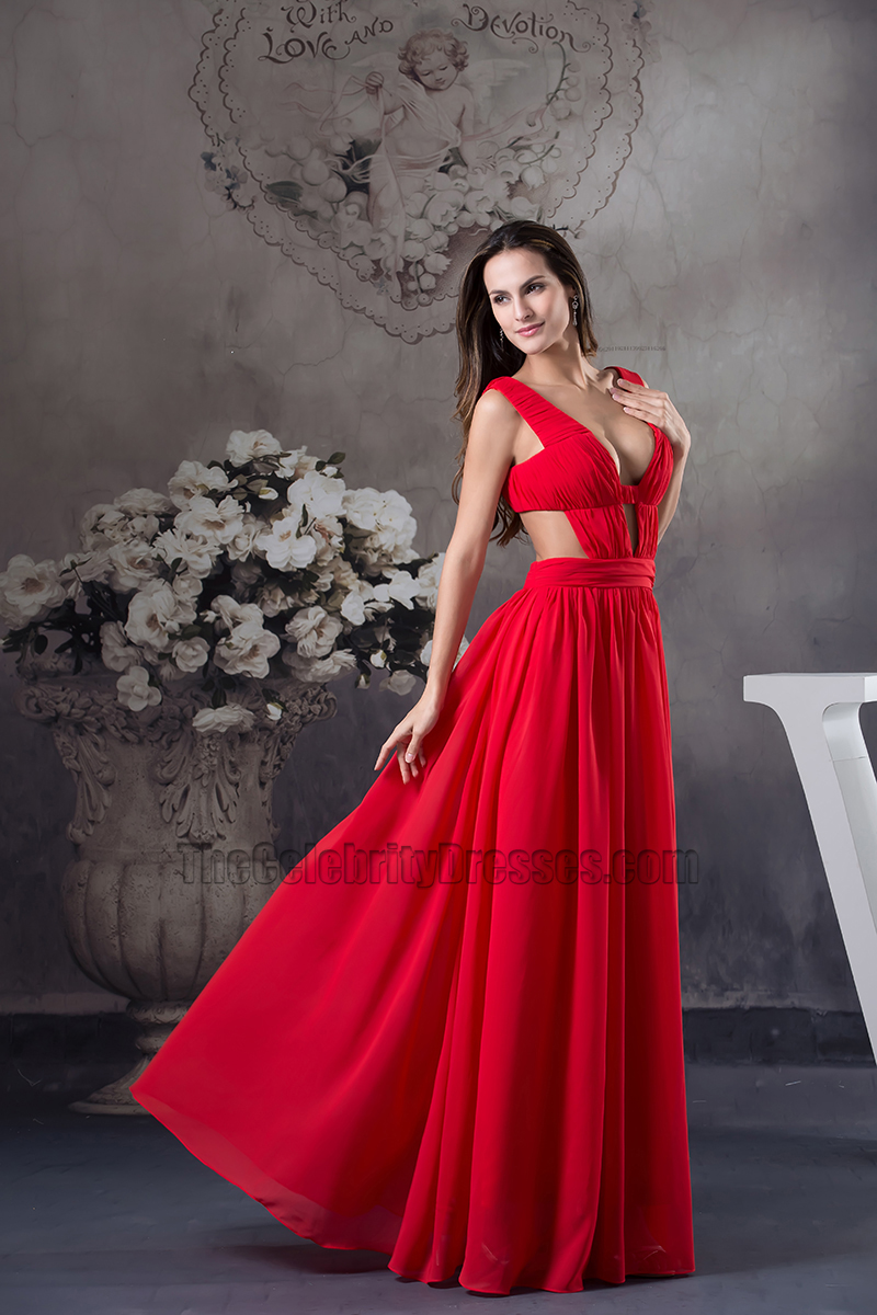 Celebrity Inspired Sexy Red Chiffon Evening Dress Prom