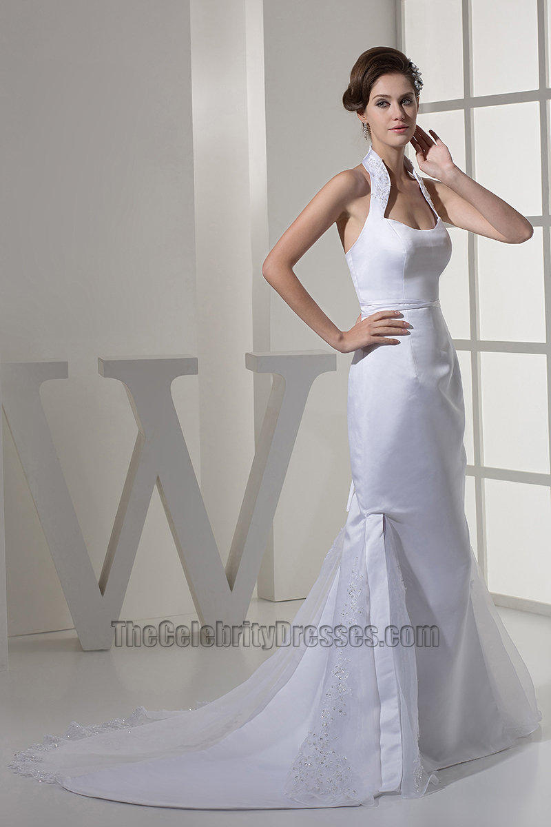 Celebrity inspired sheath column halter satin wedding dress celebrity inspired sheath column halter satin wedding dress thecelebritydresses ombrellifo Image collections