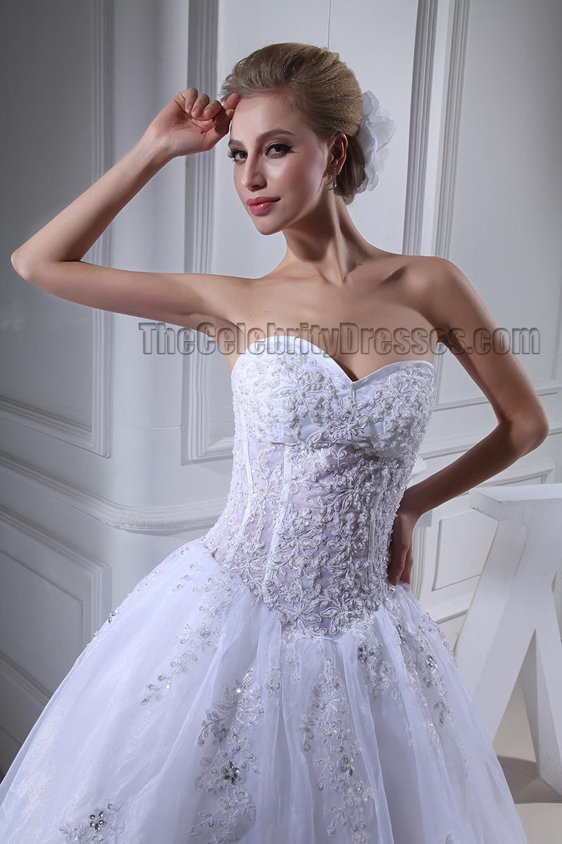 Hong kong celebrity wedding dresses : Celebrity inspired strapless sweetheart beaded wedding