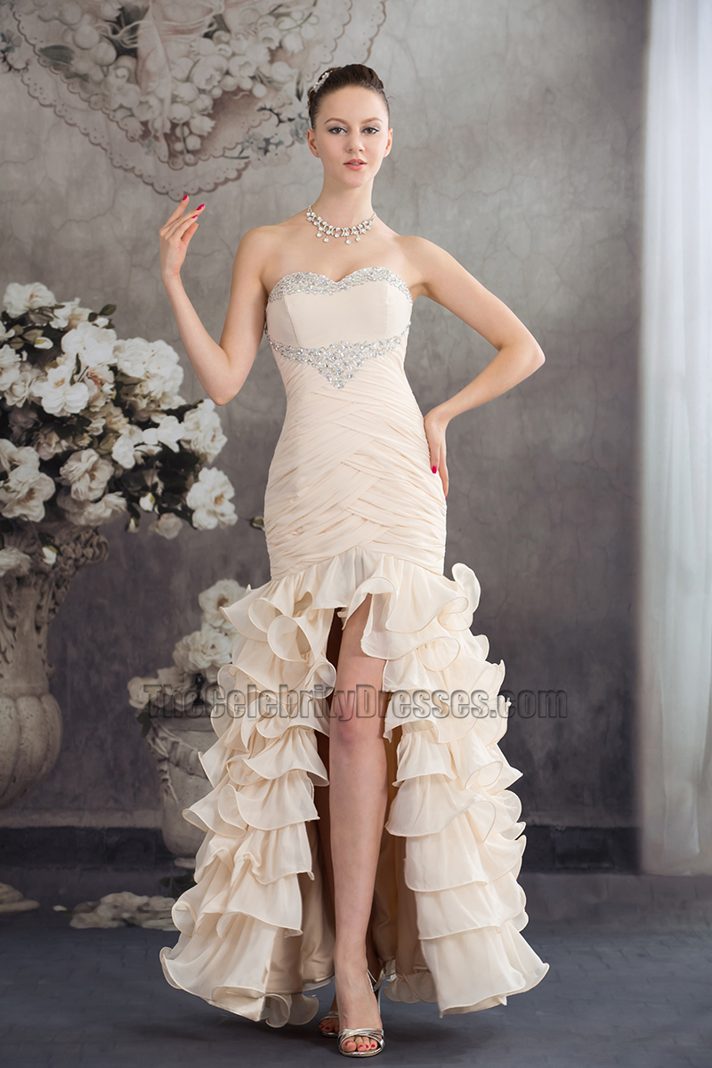 Champagne Strapless Mermaid Ruffles Formal Dress Evening