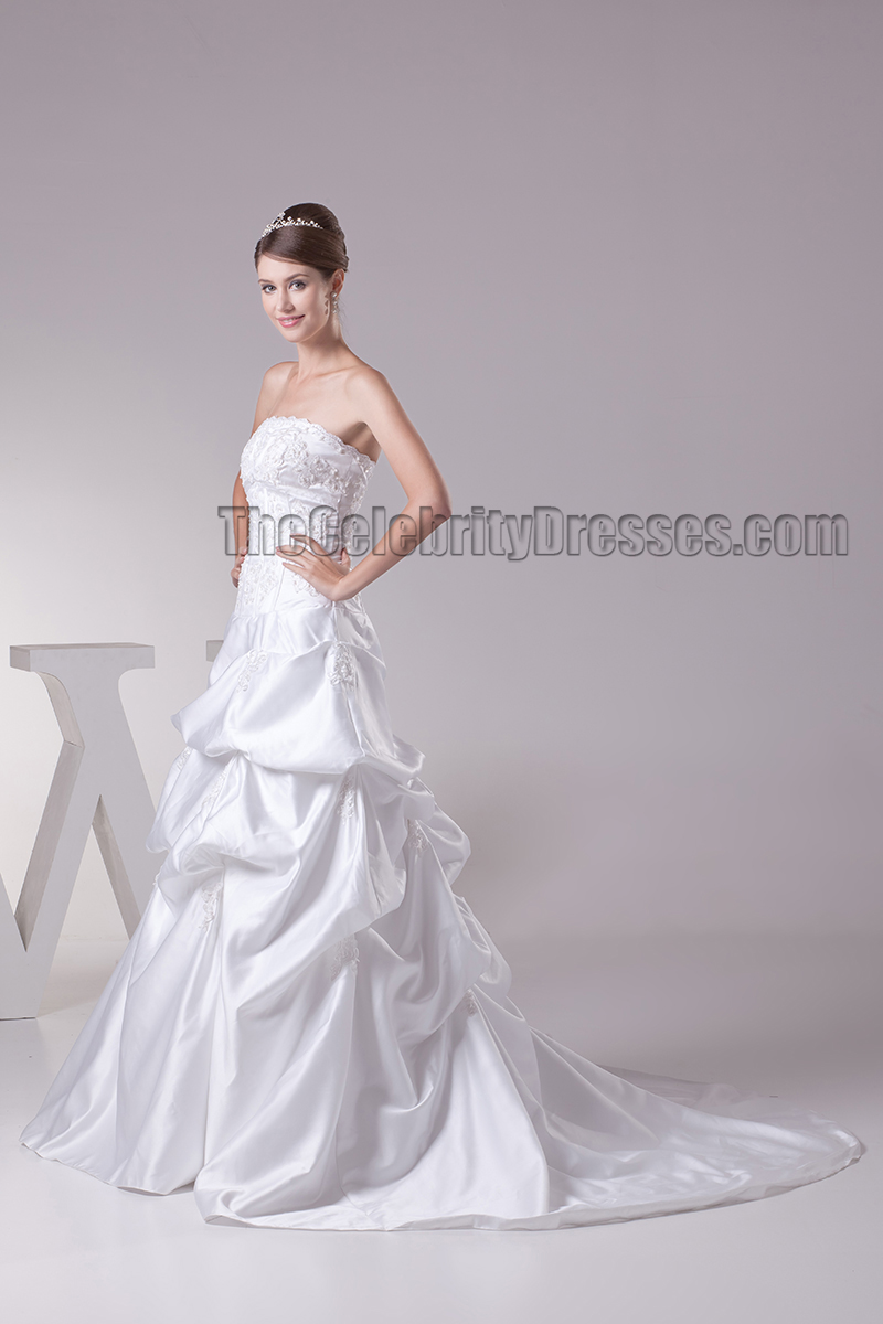 Chapel train strapless embroidered ruffles wedding dresses for Strapless wedding dress with ruffles