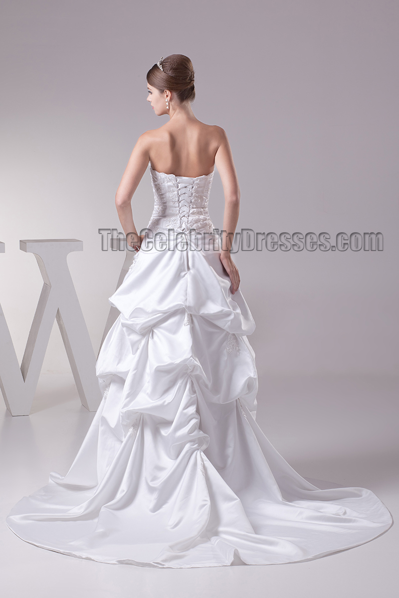 Chapel train strapless embroidered ruffles wedding dresses for Chapel train wedding dress