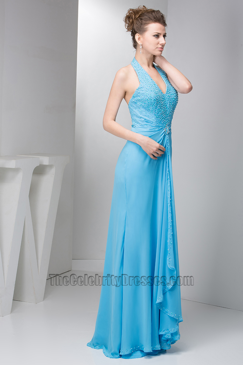 Chic Blue Halter Chiffon Prom Gown Evening Formal Dresses ...