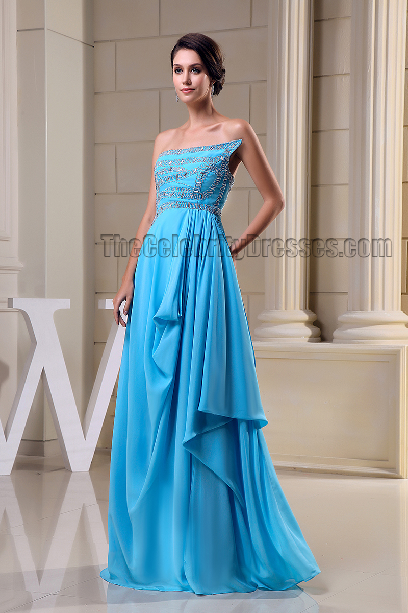 Blue Strapless Beaded Evening Dress Prom Formal Gown ...