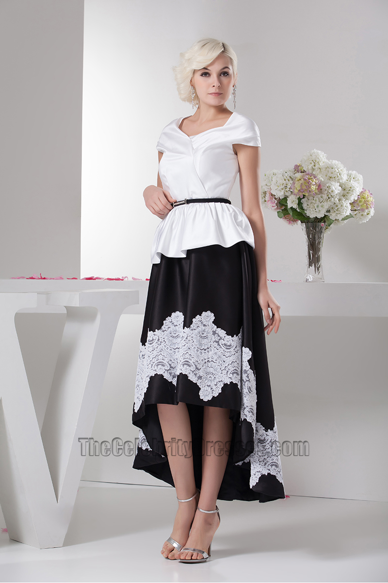 White and black high low prom dress forecast to wear in winter in 2019