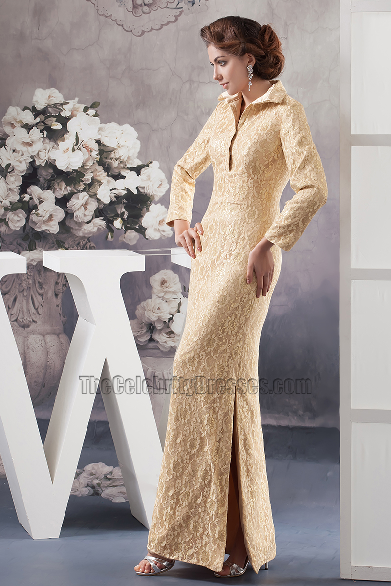 Chic Gold Lace Long Sleeve Formal Dress Evening Gown ...