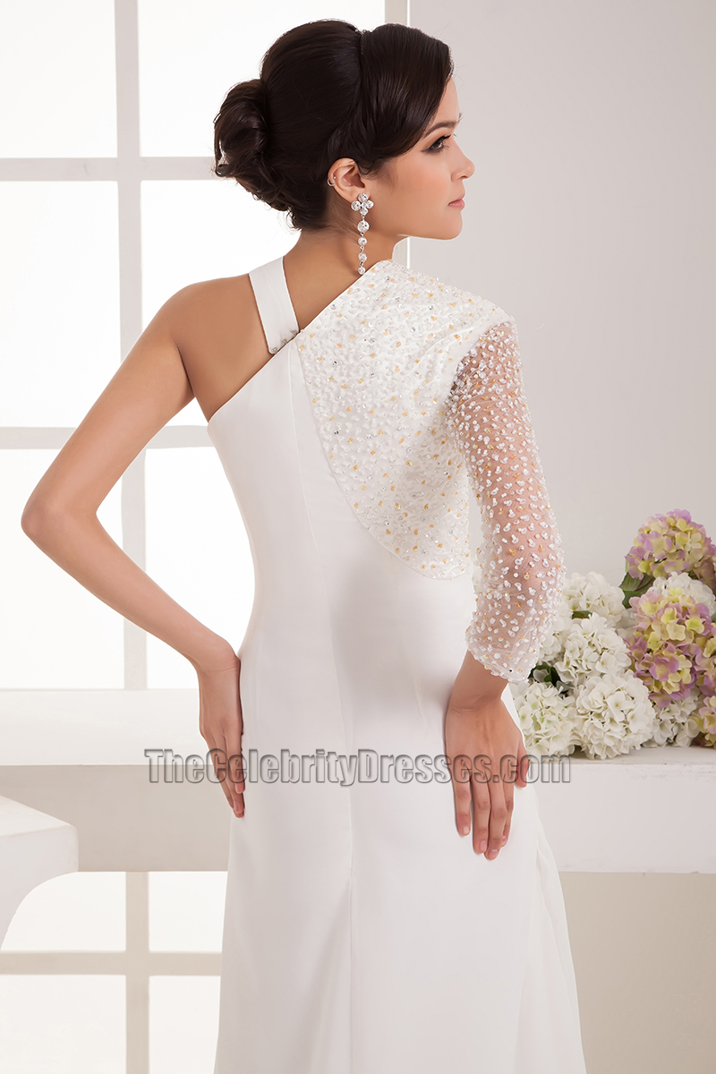 Chic floor length one sleeve wedding dress bridal gown for One sleeve wedding dress