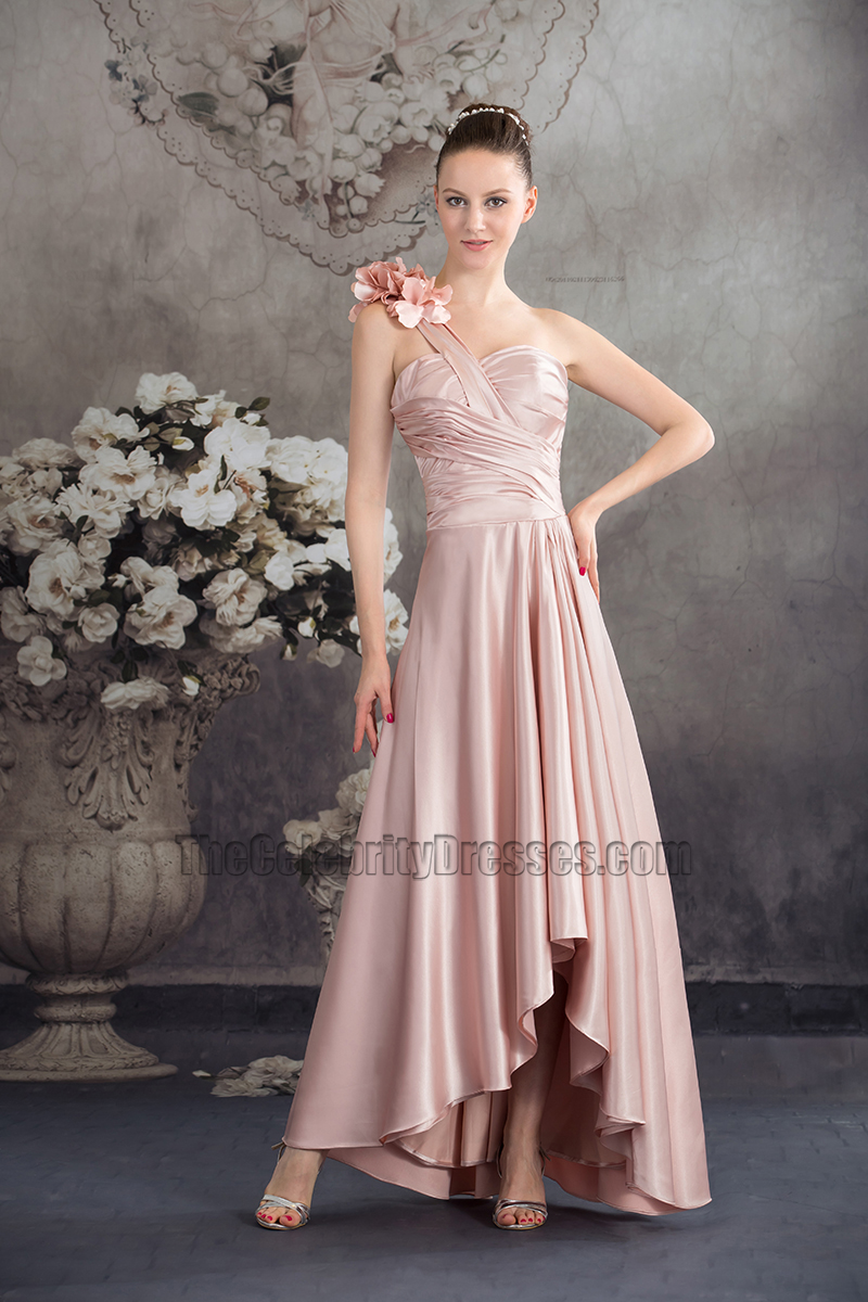 f5e9688bdb Pearl Pink One Shoulder High Low Prom Gown Evening Dress ...
