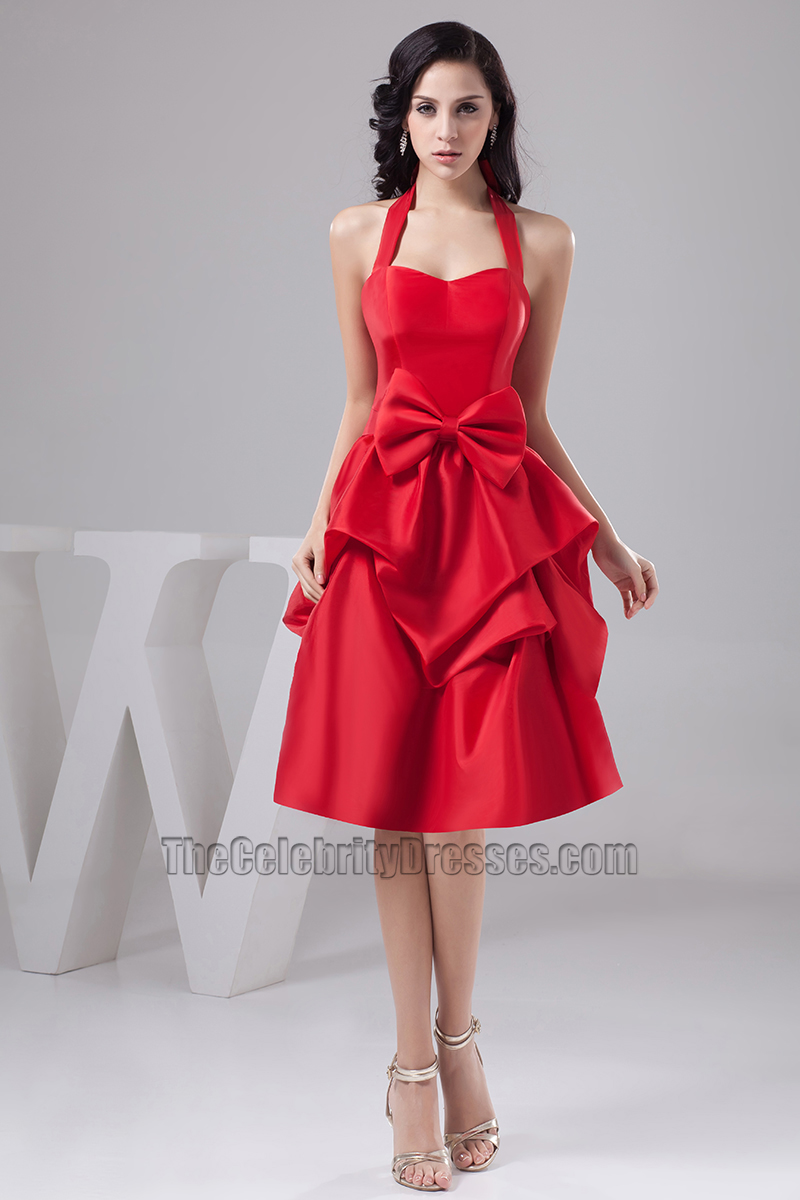Red knee length halter taffeta cocktail party graduation dresses red knee length halter taffeta cocktail party graduation dresses thecelebritydresses ombrellifo Image collections